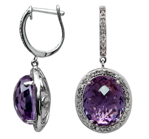 """Oval Amethyst-Diamond Earrings, hand-crafted 14kt white gold, containing 2 Natural, Multi-faceted Amethyst 10.25ct tw, surrounded by .38ct tw round brilliant cut pave set diamonds with """"huggie"""" style backs."""