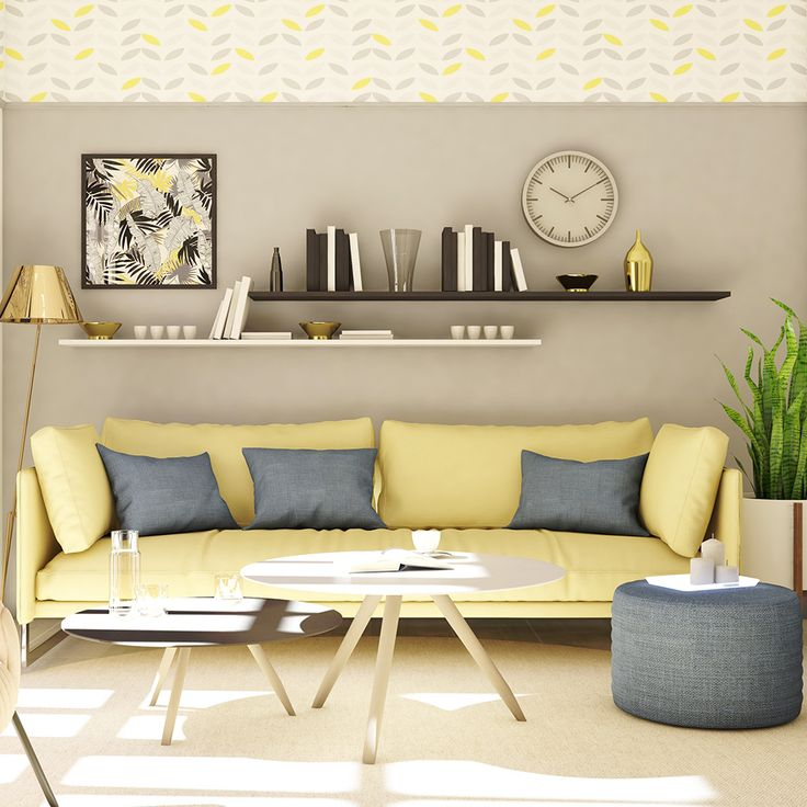 modern yellow and blue living room  yellow decor living