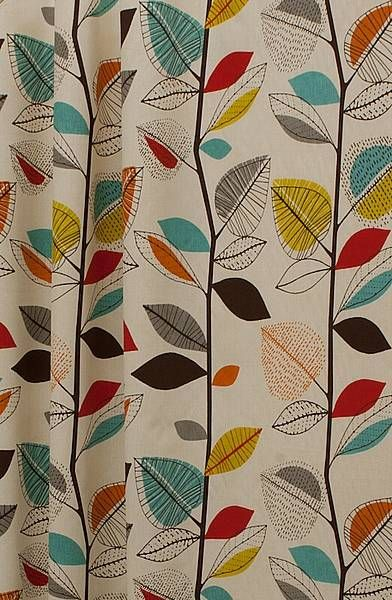 autumn leaves cinnamon, £14 per metre, a contemporary design with a Scandinavian, retro feel.