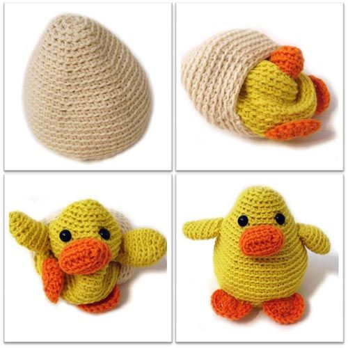Adorable duck-in-an-egg toy crochet toys
