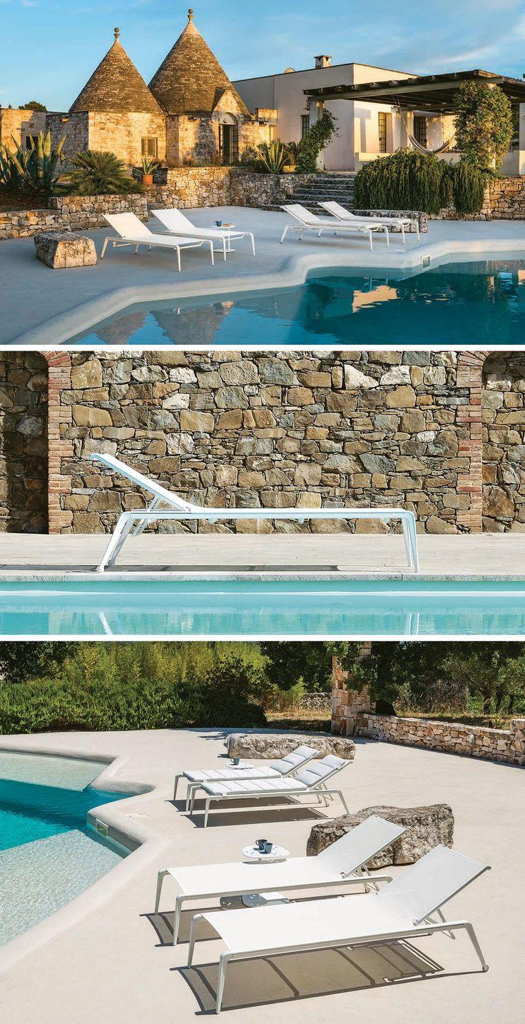 Lettino Ushuaia di Fast, alluminio pressofuso verniciato Made in Italy.  Design di Emmanuel Gallina.