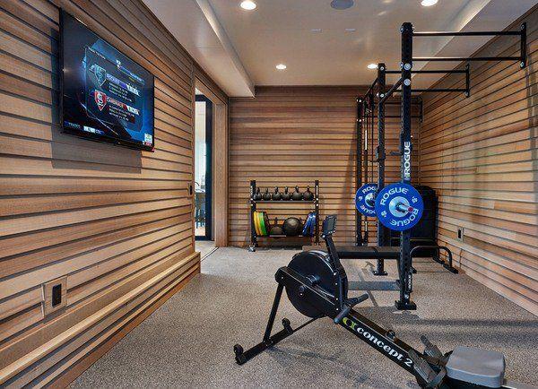cool garage gym design ideas home gym design wall cladding wall mounted tv