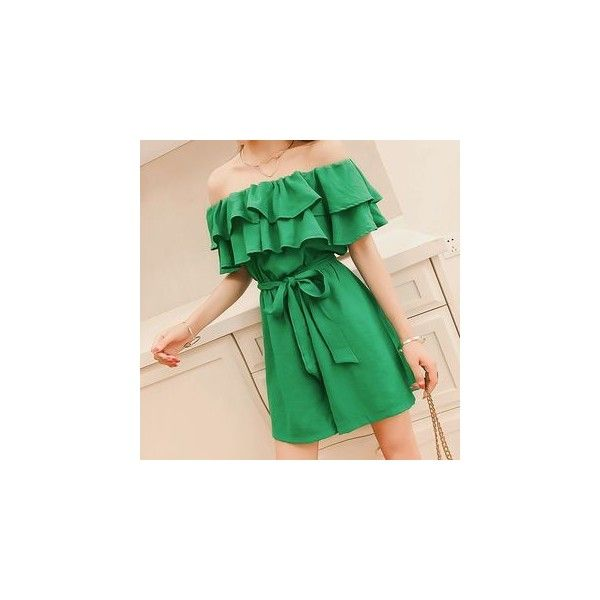 Plain Ruffle Trim Strapless Playsuit ($20) ❤ liked on Polyvore featuring jumpsuits, rompers, playsuit, women, ruffle romper, playsuit romper, strapless rompers, flounce romper and green romper
