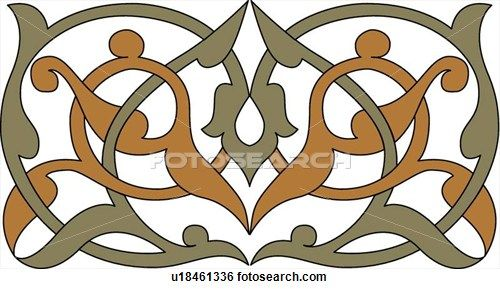 Clip Art of Green and Brown Arabesque Design u18461336 - Search Clipart, Illustration Posters, Drawings, and EPS Vector Graphics Images - u1...