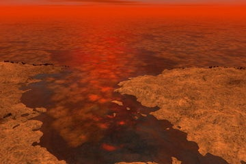 Artist's Impression of Floating Ice on Titan's Lakes