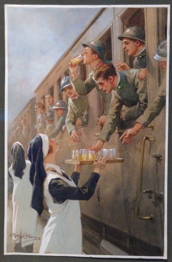 Red Cross volunteers handling refreshments to soldiers at Vicenza railway station, 1915. By Achille Beltrame.