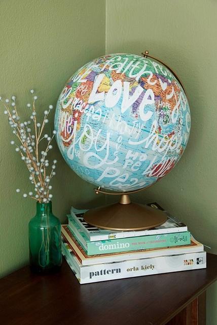 Painted globe. Presentaciones de nuestro Planeta, Globos, Mapas, así como las Esferas de Cristal, son excelentes para conectarnos con el Elemento Tierra y activar Sabiduría, Conocimiento y Estudios, en la coordenada Noreste de Salas, Estudios, Oficinas, Habitaciones.