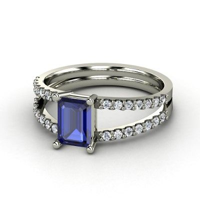 Did you know that the blue sapphire is associated with loyalty and fidelity. Hm...Emeralds Cut Gem, Emerald Cut, Samantha Rings, Emeraldcut Diamonds, Gold Rings, Jewelry, White Gold, Emeraldcut Sapphire, Engagement Rings