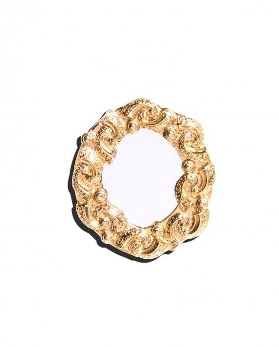 Vintage Ugo Correani round mirror pin, c. 1980