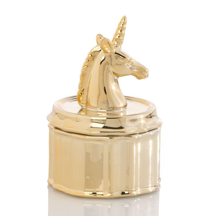 Unicorn Jewelry Jar, Gold