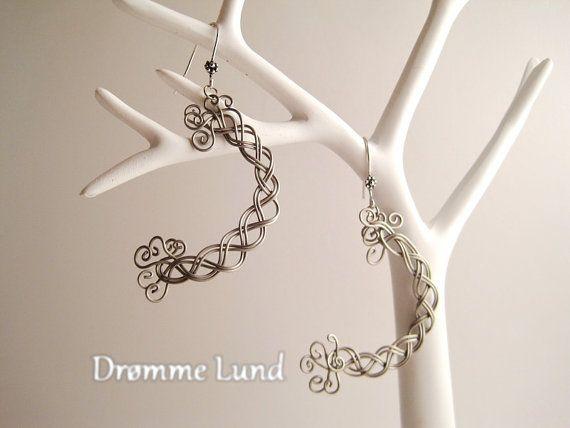 Celtic Crescent Earrings Handmade  Wirework Braid by DrommeLund