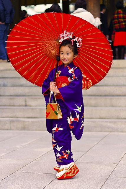 Japanese little girl in kimono
