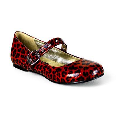 Daisy-04 rood luipaardprint glitter- emo, glamrock ballerina platte schoen met…