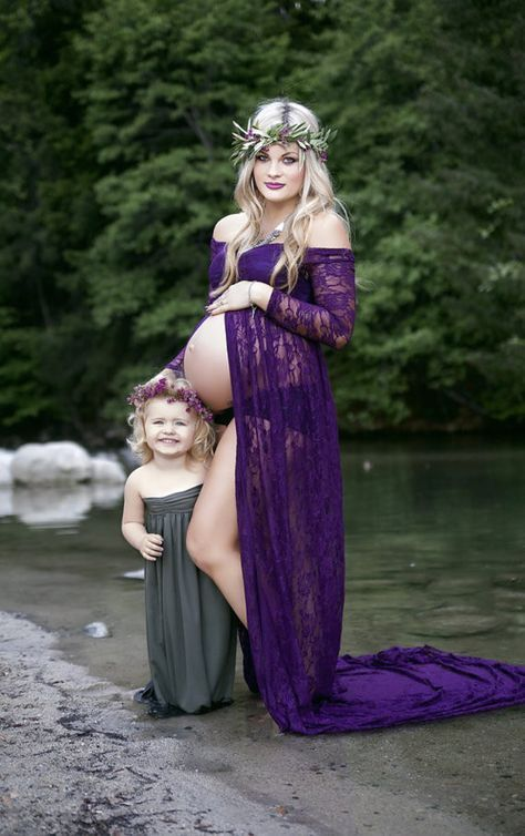 Purple lace maternity gown with lace layered tube top and long off shoulder sleeves, maternity dress