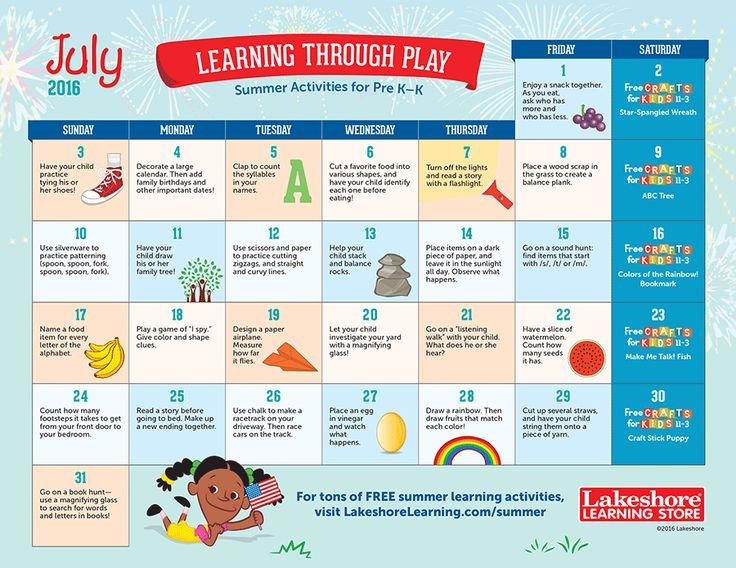 Calendar Games Kindergarten : Best images about summer fun on pinterest
