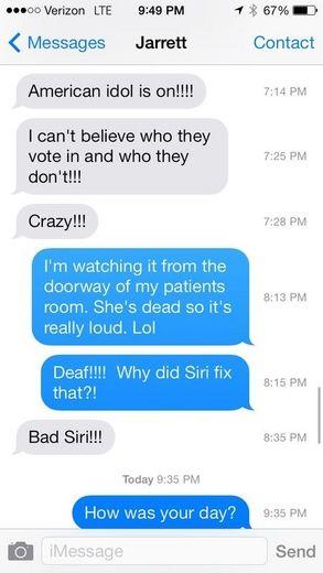 Siri auto-corrected a very crucial word.