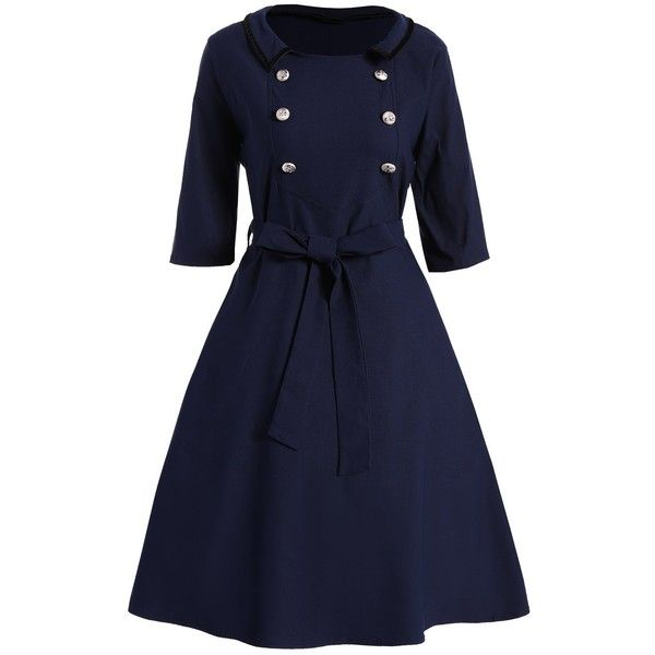 Plus Size Vintage Dress With Belt ($21) ❤ liked on Polyvore featuring dresses, blue dress, dresses with belts, plus size day dresses, vintage day dress and plus size belted dress