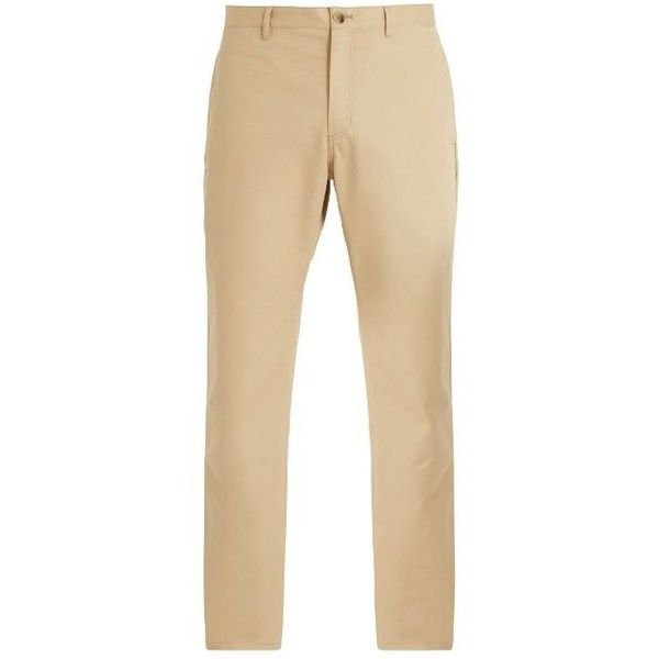 A.P.C. Classic cotton chino trousers ($250) ❤ liked on Polyvore featuring men's fashion, men's clothing, men's pants, men's casual pants, mens slim pants, mens slim fit pants, mens elastic waistband pants, mens chino pants and mens chinos pants