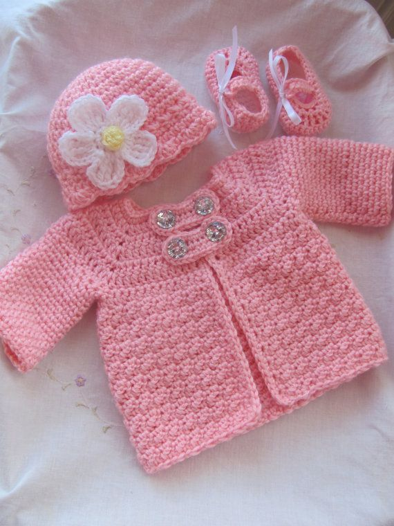 3-Piece Baby Crochet Sweater jacket Hat and by StonehouseGals