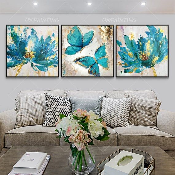 Set Of 3 Wall Art Abstract Floral Butterfly Blue Art Framed Paintings On Canvas Gold Art Heavy Textured 3 Piece Wall Art Cuadros Abstractos Abstract Art Painting Art Painting Blue Art