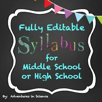 Are you a new middle school or high school teacher? Are you completely overwhelmed trying to write your class syllabus? You know you need one, but you don't know where to start. Trying to think about what polices you'll want to have for your class is challenging. Now you can use my syllabus as a template and change as much or as little of it as you want! Since this is a .docx file, it is completely editable!