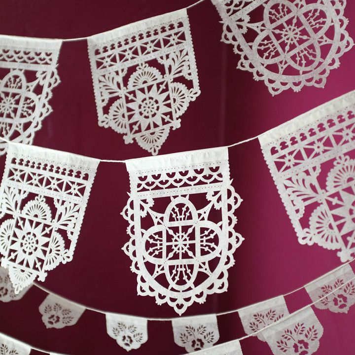 TALAVERA mini banners - white or mixed brights | Ay Mujer shop - Fine papel picado for weddings & the modern fiesta