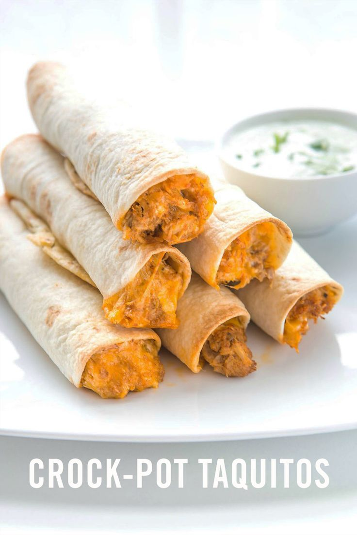 These Crock-Pot Taquitos are the perfect happy medium between what parents love and what kids will eat. (And they'll make mom happy because the Crock-Pot recipe is so easy to make.)