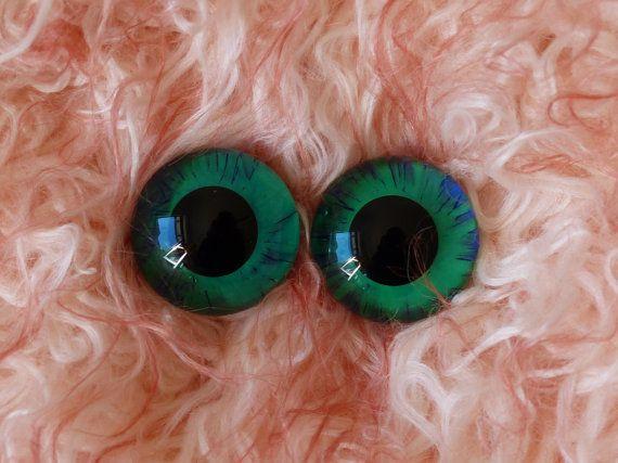 22mm Hand Painted German Glass Eyes 1 pair by BearsnBitz on Etsy,22mm Hand Painted German Glass Eyes (1 pair) Deep Purple & Green,glass eyes, teddy bear eyes, hand painted glass eyes,22mm,german glass eyes,sapphire,green,gold,blue,purple,sparkle,glitter,orange