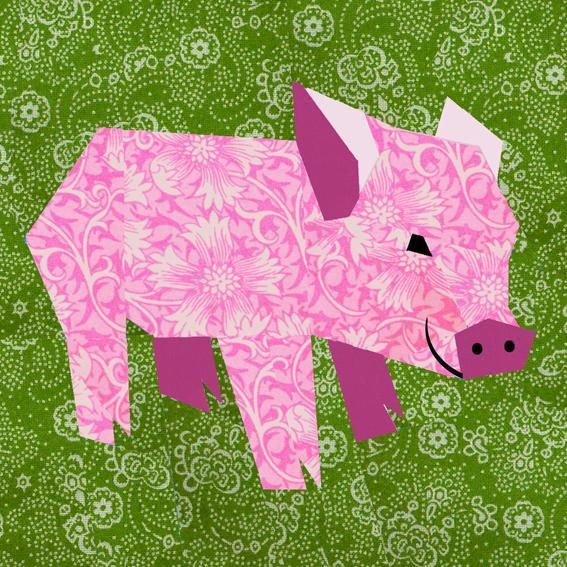 Pig paper pieced block part of a series of animal blocks by Bibblestich in Squamish featured on craftsy