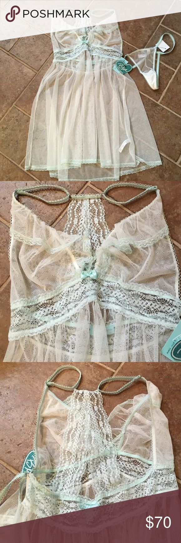 ONE HOUR SALE! Betsy Johnson bride lingerie NWT. Beautiful detailed lace and light blue ! Perfect for the bride to be for her wedding night ! Never worn , original tags . Was bought in May 2016 Betsey Johnson Other