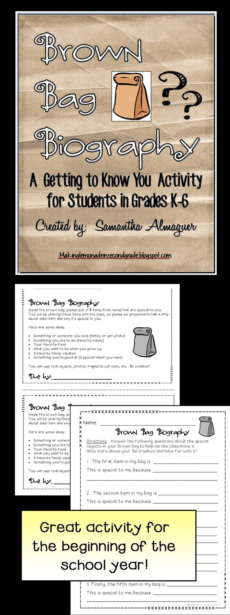 Another pinner: @Mary Powers Powers Powers Beth Chambers Heinrich Duplessis FREEBIE! This is a great little activity for the first few weeks of school! Copy, cut, and staple to a brown bag for your students to take home. Students fill the bag with five items that help to describe who they are (sample ideas included). Additional page included for students to write about each item and why it's special to them. Easy and fun getting to know you activity!