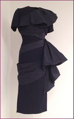 "Two-piece rayon crepe and faille dress from ""The Atomic 50s"" collection by Gilbert Adrian"