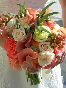 coral calla lily bouquet | coral wedding bouquet a wonderful blend of