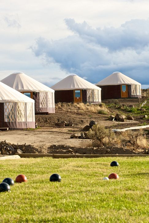 The Yurts at Cave B Inn, Washington, overlooking the Columbia River Gorge.