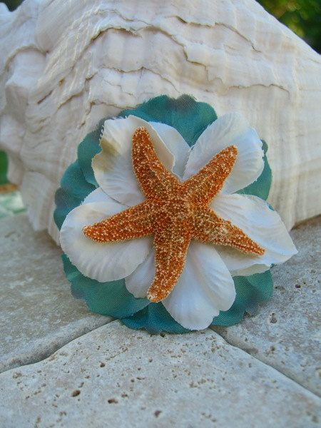 Coral Starfish with Turquoise Flower Hair Clip: Beaches Bridal Shower, Baby Shower Ideas, Beach Weddings, Starfish Floral, Beaches Houses, Hair Clipsea, Starfish Hair Clip, Beaches Wedding, Floral Hair