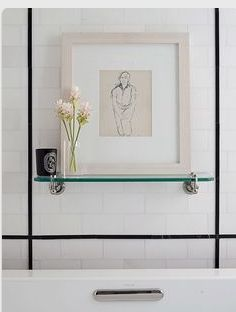 Like the dark pencil liner as an accent with subway tile.