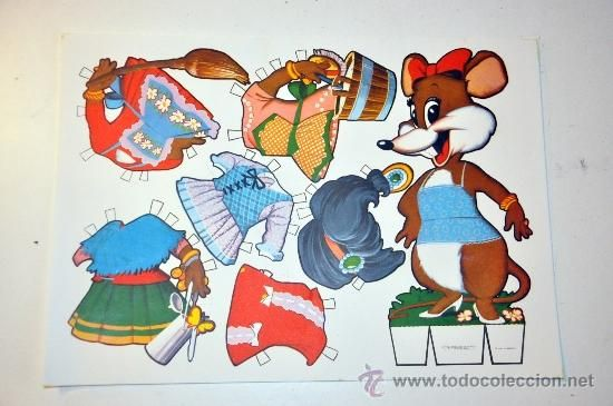 1 recortable fabula raton MARIQUITA a�o 1970