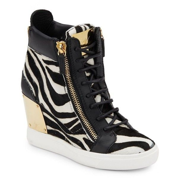 Giuseppe Zanotti Leather & Calf Hair Wedge Sneakers ($480) ❤ liked on Polyvore featuring shoes, sneakers, platform sneakers, leather sneakers, hidden wedge shoes, wedge shoes and hidden wedge sneakers