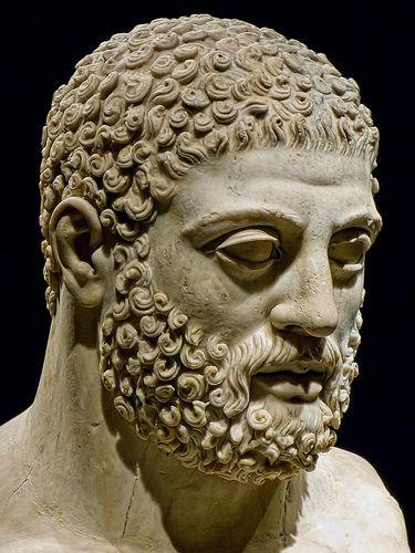 Hercules (Heracles), head of Roman statue (marble), 2nd century AD, (Portland Art Museum).
