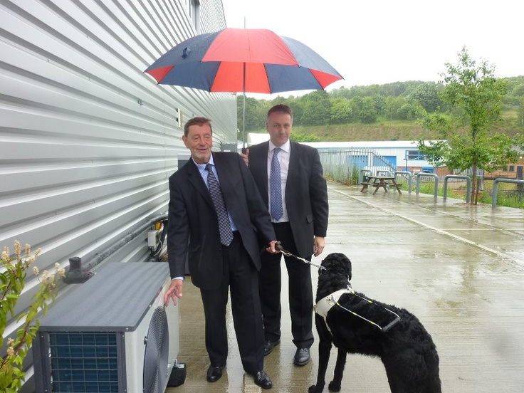 Great to welcome Mr Blunkett MP for Sheffield (Brightside and Hillsborough) to Danfoss Heat Pumps this week for their launch of new air source heat pump. Good to meet Cosby, beautiful 2 year old Labrador too!