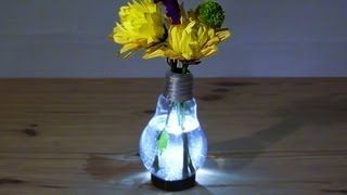 Video tutorial for How to Make a Light Bulb Vase, including how to actually make it light up--so there's a mini tut on LEDs and batteries too! Via DaveHax on YouTube. Plus he shows how to make a stand for it using a metal coat hanger!
