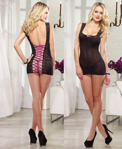 8089 Dreamgirl Lingerie, Stretch mesh chemise with lace strap necklin
