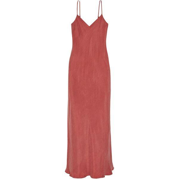 HATCHRicky Washed-satin Midi Dress (€235) ❤ liked on Polyvore featuring dresses, brick, satin slip dress, satin midi dress, bias cut slip dress, hatch dress and midi dress