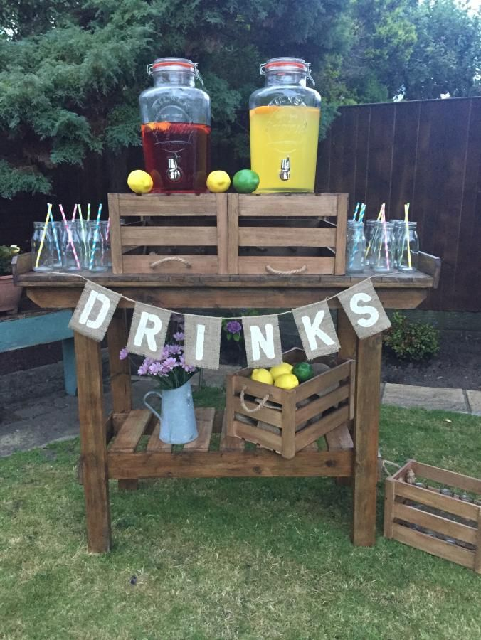 Rustic drinks stand for hire, £85.00 by theshabbychiclook-uk: We have for hire our beautiful rustic drinks stand. Can be used indoors or outdoors for lemonade, punch or any other beverage. For a special event or a home party. Hire includes the stand, two 8L Kilner drink dispensers, all the crates, glass bottles or plastic glasses, straws, vintage galvanised vase and flowers, bunting, everything but the fluid (but this can be arranged).