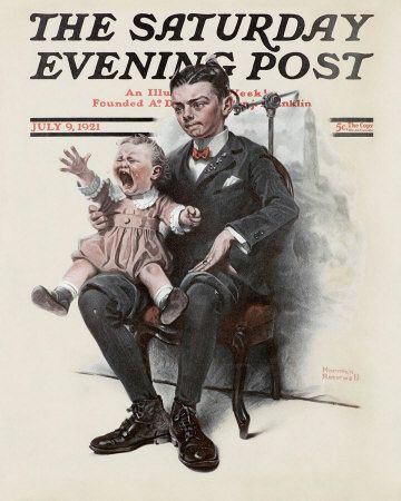 Norman Rockwell's Boy Holding Screaming Baby, July 9, 1921 Issue of The Saturday Evening Post
