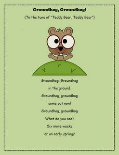 "groundhog song to the tune of ""Teddy Bear, Teddy Bear"""