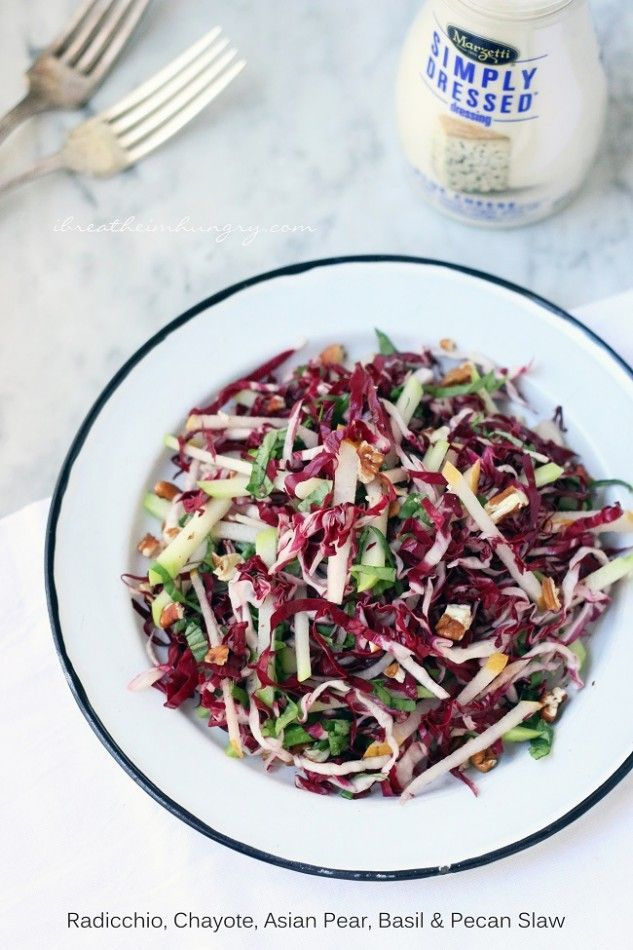 Radicchio, chayote, and asian pear slaw recipe! A bold and exciting low carb winter salad recipe with lots of favor and texture. Atkins, gluten free, keto, low carb, paleo friendly.
