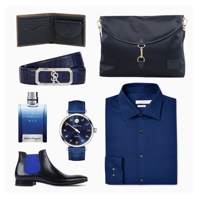 #25 Classic Blue by Gnome & Bow on Polyvore | Book II Jekyll's Hyde Collection | Kensington Messenger in Midnight Blue | Regent Billfold in Deep Sea Blue