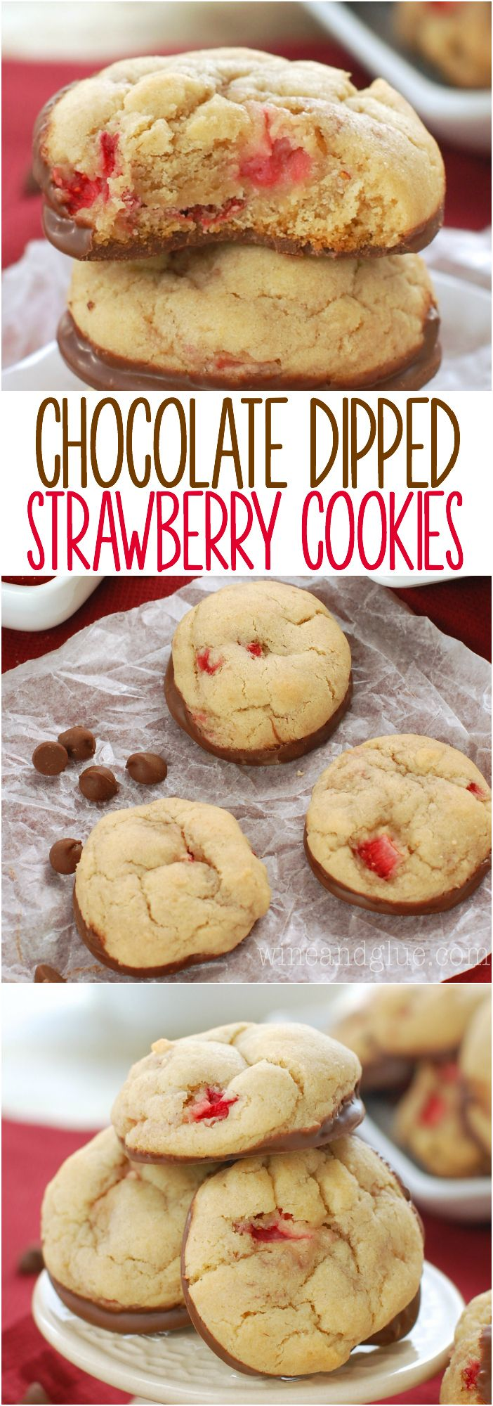 Chocolate Dipped Strawberry Cookies | Soft and delicious cookies packed with fresh strawberries and dipped in chocolate!