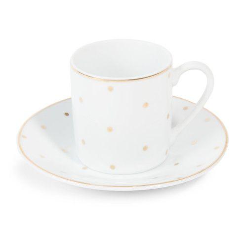 Kaffeetassen mit Untertasse aus Porzellan, weiß mit goldenen Punkten